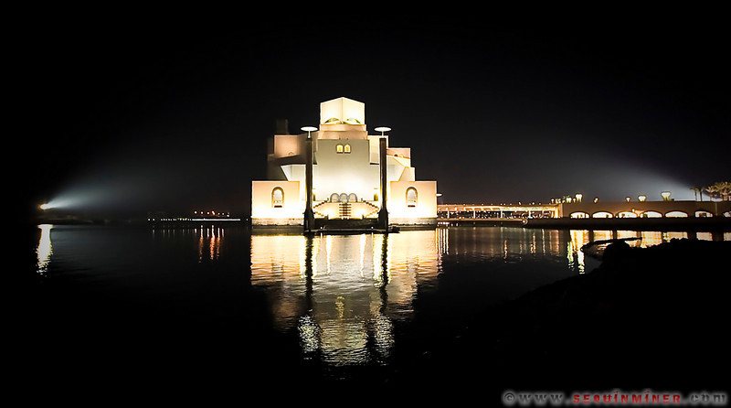 Museum of Islamic Art at Night, Reflection over Water, Doha